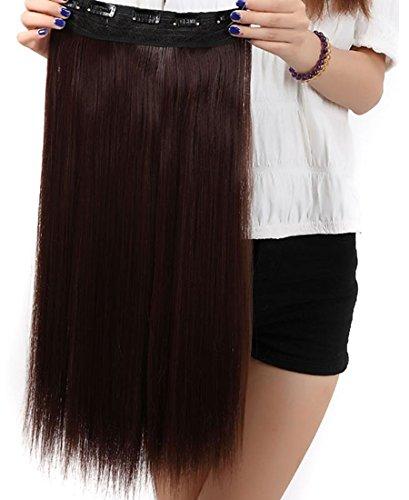 S-noilite® Haarverlängerungen 3/4 Voller Kopf-Haar-Verlängerungen Klipp gerade lockig 5 Clips, Lang Mittelbraun