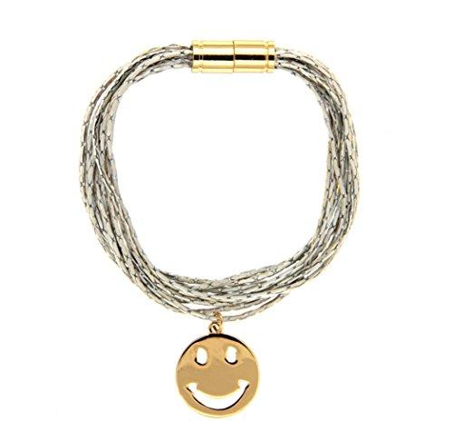 sweet deluxe 6672 Armband Smile in gold / weiß, Damen-Armband mit Smily Emoji Anhänger, Geburtstagsgeschenk für Frauen Mädchen, Armreif für jeden Anlass Hochzeit, Geburtstag, Abiball (Must De Cartier Für Frauen)