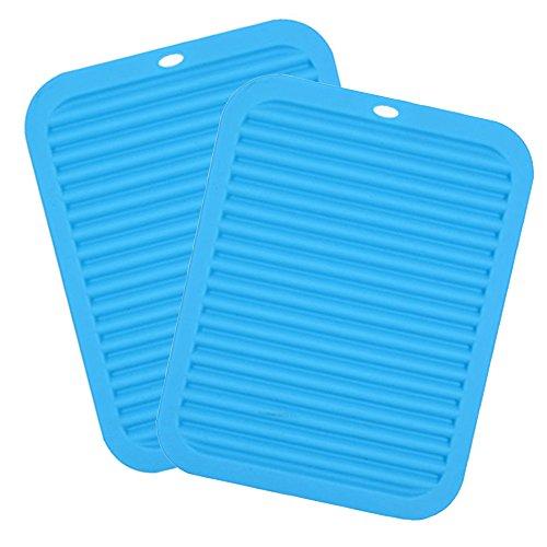 30,5 x 22,9 cm rectangle en silicone Manique antidérapant Tapis de dessous de plat, cuisson Gadget de Cuisine de table étanche, isolation thermique, Vaisselle Pad sous-verres (lot de 2)
