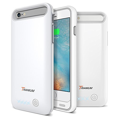 iPhone 6S / 6 Battery Case, Trianium Atomic Pro iPhone 6S Portable Charger (4.7 inch) Charging Case - 3200mAh Extended Rechargeable Battery Pack Juice Bank Power Cases [MFI Apple Certified]-White/Grey