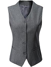 e2407bb9964 Vocni Women s Fully Lined 4 Button V-Neck Economy Dressy Suit Vest Waistcoat