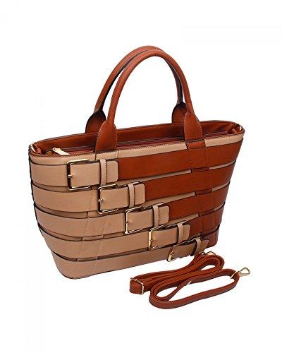 LeahWard® Damen Groß Belt Stil Berühmtheit Tote Handtaschen Schultertaschen BURGUNDY/Marine