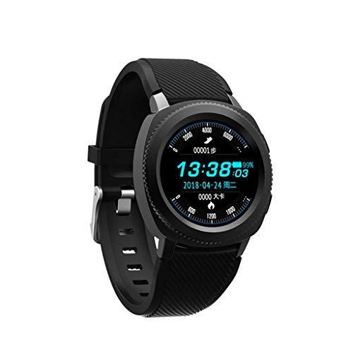 KLE Smart Uhr IP68 Schwimmen Schritt Zähler Übung Herzfrequenz Blutdruck Schlafüberwachung Anruf Smart Watch (Farbe : SCHWARZ)