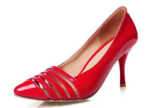 OL Pumpen Büros Hollow Scarpin Stiletto Mid Heel Spitz-Toe Frauen Casual Hochzeit Elegante Schuhe Europa Größe innerhalb Biger Größe 30-45 Red