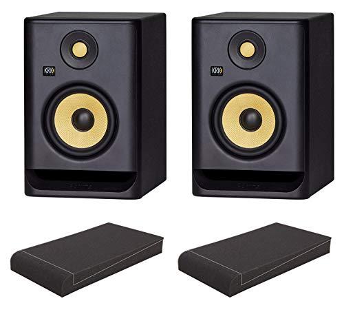 diomonitor ISO-Stand Set (aktives Studiomonitor Paar, 2-Wege, bi-Amp, 5,25 Zoll, 55 Watt inkl. ein Paar Absorberplatten) Schwarz ()