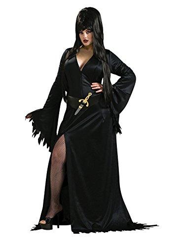 Elvira Vampirin Halloween Damenkostüm Lizenzware übergrösse schwarz XL / (Elvira Xl Kostüm)