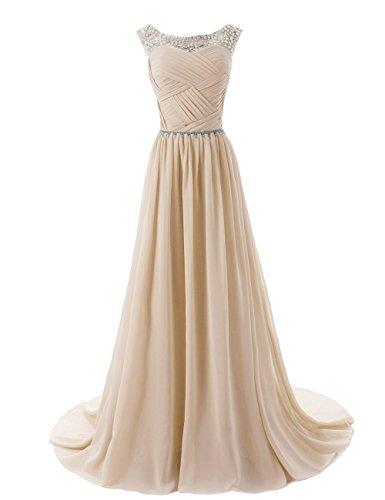 CoutureBridal® Robe Maxi de soirée bal en chiffon perlé sans Manches Champagne