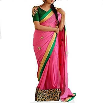 Jhtex Fashion Georgette Saree With Blouse Piece (Mbc_Pink597_Pink_Free Size)