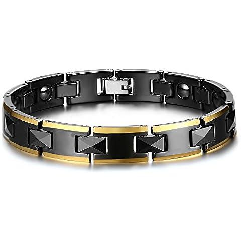Vnox Acciaio inossidabile Ceramica H link a forma magnetica ematite terapia di guarigione sano bracciale nero,21 centimetri