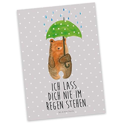 Mr. & Mrs. Panda Einladung, Sprüche, Postkarte Bär mit Regenschirm mit Spruch - Farbe Grau Pastell