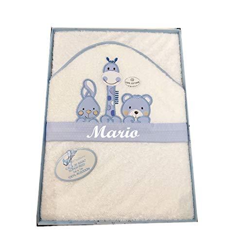 Capa de baño bebé BORDADA con nombre. Capa personalizada modelo jirafa (Azul)