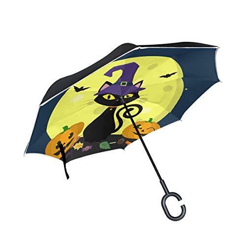 Schwarze Katzen Hexen für Halloween Doppelschicht die Anti Uv Schutz wasserdicht winddichtes gerades Auto Golf umgekehrtes umgekehrtes Regenschirm Stand mit C förmigem Griff für Auto Regen faltet - Vampir-golf