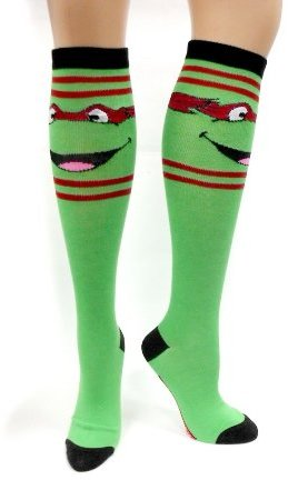 Teenage Mutant Ninja Turtles Red Stripes Green Knee High Socks