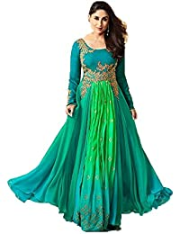 Aadhya Creation Women's Silk Latest Designer Green Colour Semi Stitched Embroidred Party Wear Wedding Special...