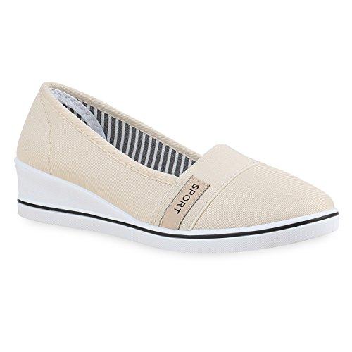 Damen Keilpumps Wedges Canvas Pumps Keilabsatz Schuhe 134146 Creme 39 Flandell