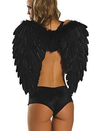 Smile YKK Damen Mädchen Cosplay Liebe Kleidung Zubehörteil Engel Flügel Schwarz (Lange Engelsflügel Kostüm)