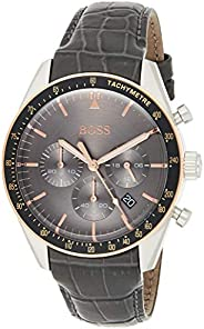 Hugo Boss Watch Mens Grey Chronograph Quartz Watch with Leather Strap 1513628