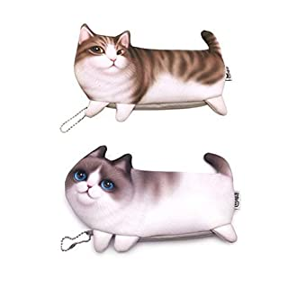 Hillento Cute Cat Pencil Case, 3D Printing Bags Pencil Holder Student Supplies Cartoon Zipper Pen Pencil Case Stationery Gift, Set of 2, Garfield Cat and Miro Cat