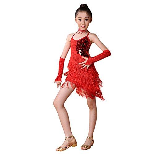 Salsa Tanz Performance Kostüm - Lonshell Mädchen Latin Kleid Pailletten Troddel