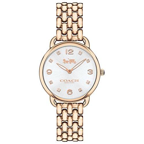 Coach Womens Delancey Slim Gold Tone Bracelet Silver Dial 14502782