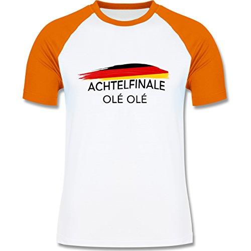 EM 2016 - Frankreich - Deutschland Achtelfinale Olé Olé - zweifarbiges Baseballshirt für Männer Weiß/Orange