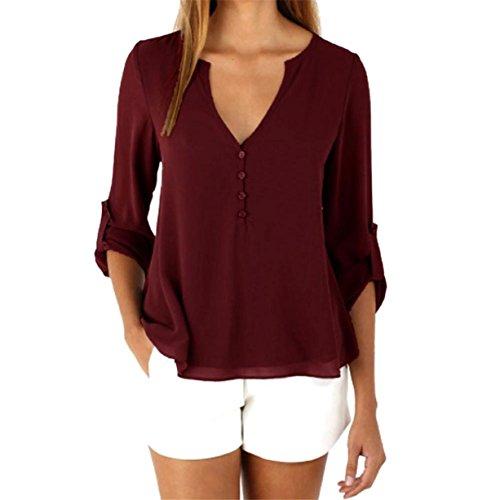 CYBERRY.M Chemise T-shirt Été Femme Casual Manches Longues Bouton Pattern Col V Bureau Blouse Top Rouge