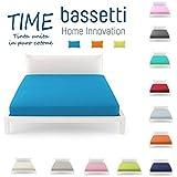 Bassetti menos con sábana bajera para cama de matrimonio (Azul, 100% _ Algodón)