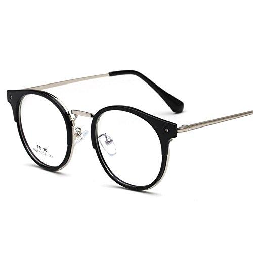 Retro Runde Brille - Damen Herren Brillenfassung mit Fensterglas Mode Vintage Stil Metall Rahmen Klare Linse Brille Eyewear Unisex
