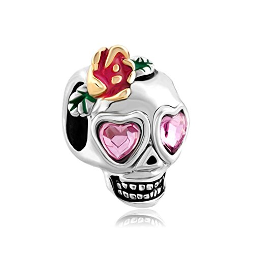 uniqueen Calavera Corazón Rosa Colgante Crystal Colgantes de Flor de ojos Venta barato Beads Fit Pandora Chamilia pulsera