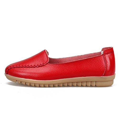 YY-Rui Damen Mokassin Bootsschuhe Leder Loafers Schuhe Flache Fahren Halbschuhe Slipper Casual Damenschuhe Rot