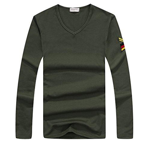 QHGstore T-shirt manica lunga da uomo stretti