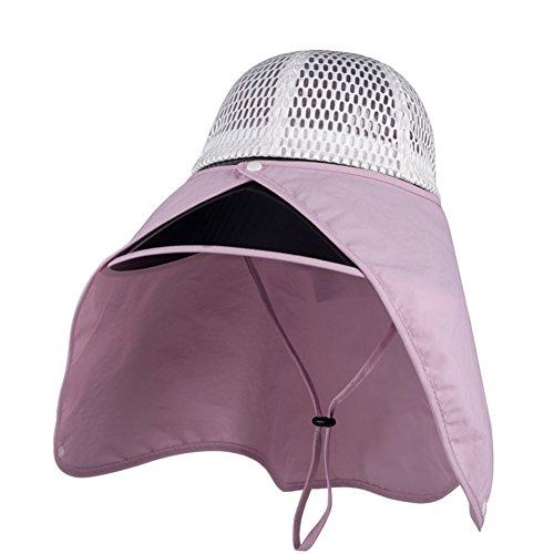 DNSJB Unisex Sommer Sonnenhut, Outdoor Riding Cover Gesicht UV Schutz Sonnenblende mit Kinnband,Atmungsaktiv (Farbe : Pink)