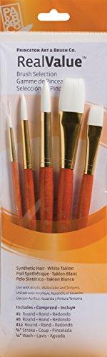 Princeton Art & Bürste P9152echten Wert Synthetik-Pinsel, rund, Größe 2, 8und 12, Stroke Größe 3/4, Wash Größe 1/2, weiß Taklon