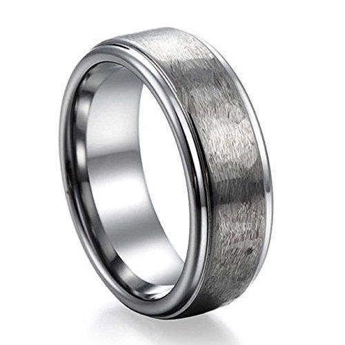 NELSON KENT Herren Damen Offene Oberfläche Zugsand Tungsten Stahl Ring Größe65(20.7)