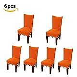 Levoberg 6 Pièces Housse de Chaise Extensible Salle à Manger Couverture Chaise Lavable Moderne Orange