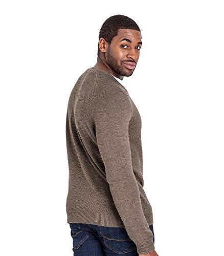 WoolOvers Strukturierter Pullover mit V-Ausschnitt aus Baumwolle-Seide für Herren Brown Marl