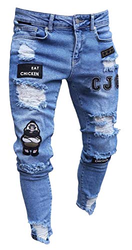 PIZOFF Herren Superenge Skinny-Jeans in verwaschenem Blau mit Rissen an den Knien AM018-blue-M -