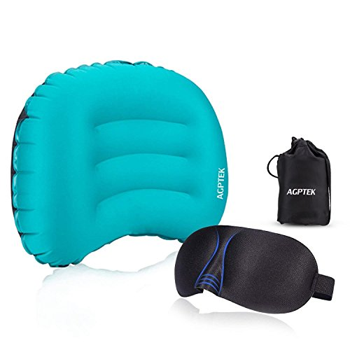 AGPtek Ultralight Cuscino Gonfiabile Portatile con Maschera Occhi 3D per Campeggi, Viaggi in Aereo/Auto, Ufficio o attività all'aperto, Blu