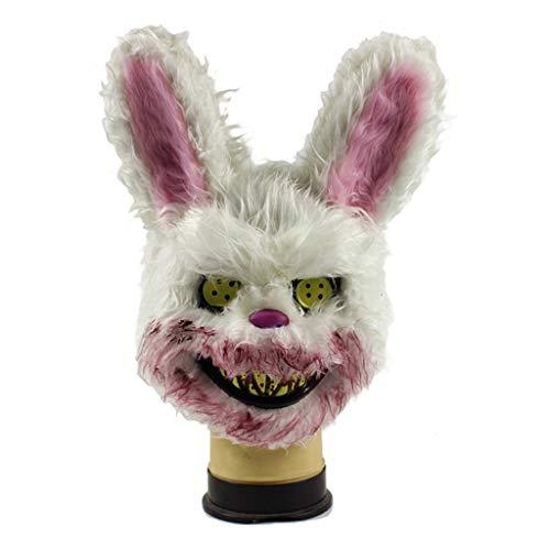 nbär Maske Horror Kaninchen Maske Plüsch Cos Halloween Tier Maske Killer Critter Pelzigen Teddybär Maske Böse Maske Party Kostüm,White-OneSize ()