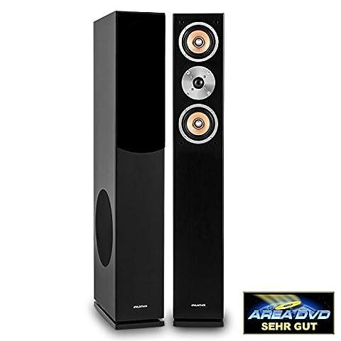 Auna Linie 501 FS-BK Passive Tower Floor Speaker • Pair • 280W • 3-Way Speaker • Side 20 cm (8