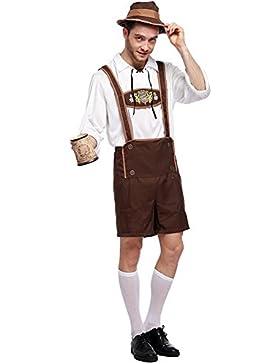 Cystyle 3 tlg. hochwertige kurze Herren Trachten-Lederhose mit traditioneller Stickerei,Hut+Bluse +Hose(Drei Stück)