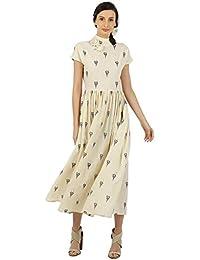 House of Three Women's Cotton Pleated Maxi Dress