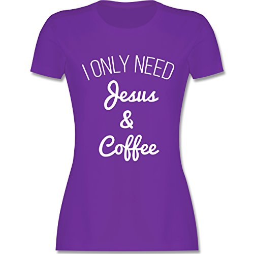 Statement Glaube Religion - I only need Jesus and Coffee weiss - Damen T-Shirt Lila