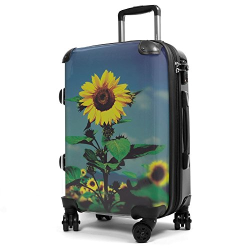 HAUPTSTADTKOFFER® 40 Liter (ca. 55 x 35 x 24 cm) · Handgepäck · Modell: STYLE · TSA Schloss · verschiedene Cover (Sonnenblume) Sonnenblume