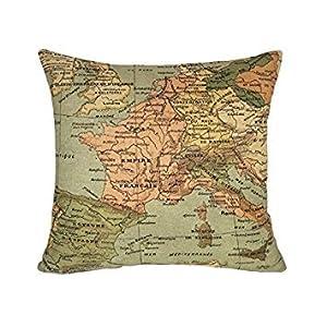 honeysuck cuadrado transpirable lino inglés mapa manta funda de almohada cojín decoración del hogar