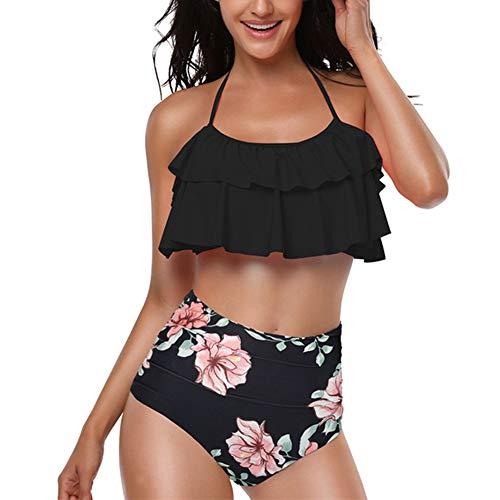 uirend Damen Mädchen Bademode Bikini Sets - Blumendruck Halfter-Rüschen Hohe Taille Familie Eltern-Kind Badeanzug Sommer Strandbekleidung