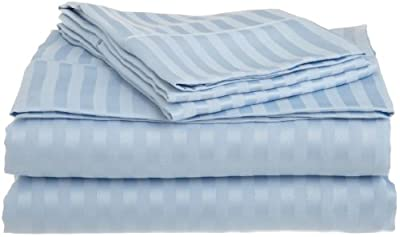 Impressions 1500 Series Deep Pocket/Super Soft and Wrinkle Resistant Stripe Bed Sheet Set, 100 Percent Brushed Microfiber, Light Blue, Full Size, 4-Piece - low-cost UK light store.
