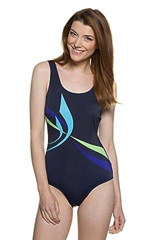 GINA_LAURA Damen | Badeanzug | Bodyforming-Effekt | Größe 40-50 | Schwimmer-Rücken, Soft-Cups | Muster-Druck | marineblau 46 709438 77-46