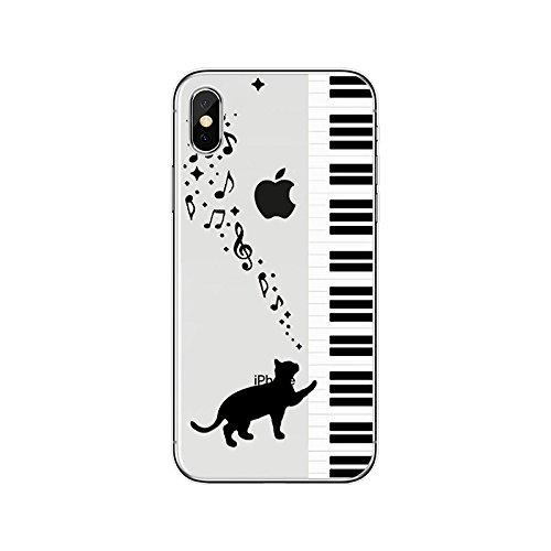iPhone X 2017 Handyhülle, SevenPanda Soft Crystal iPhone X Hülle Premium Kratzfest TPU iPhone X Schutzhülle Ultra Klar Dünn Case Cover Kreativ für iPhone X 5.8 Zoll Case Cover - Katze / Klavier