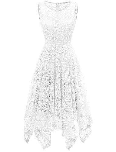 GardenWed Elegant Kleid aus Spitze Damen Retro Ärmellos Unregelmässig Cocktailkleider Brautkleider White S